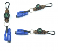 Survival Gear Parachute Cord LED light Scraper Compass Whistle  Outdoor survival keychain