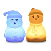 Christmas Gift Snowman Santa Clause Shaped Silicone Night Light Holiday Gift for Children, Girl, Boy