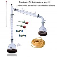 Laboy Glass Fractional Distillaton Apparatus Kit Fractionating Distilling Set with 24/40 Joints & Vigreux Column Organic Chemistry Lab Glassware Equipment
