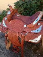 """15"""" western show saddle with lots of silver aztec pattern 100% leather"""