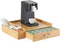 Bamboo 64 Coffee Pod Drawer Tassimo Pod Compatible Coffee Machine Stand Pod Drawer Dispenser Kitchen Storage