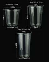 Clear Disposable Plastic Smoothie PET Cups with Lids Covers and Straws
