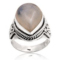 Sterling Silver Rainbow Moonstone Ring - Natural Moonstone Ring - Quality Genmstone -  Sterling Silver Ring
