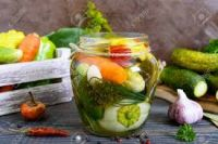 Assorted pickled cucumbers and squash