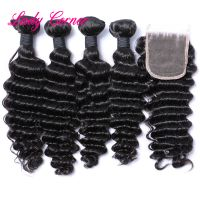 Wholesale Virgin Brazilian Human virgin hair bundles with lace closure