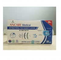 CE/FDA APPROVED FOR 3 PLYS DISPOSABLE FACE MASK - LEVEL 3 ASTM - TYPE IIR (EN 14683) - 98% ANCARE VIETNAM