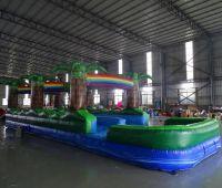 Custom Inflatable double lane Palm Tree Slip n Dip Inflatable Rainbow Slip n Slide with Pool