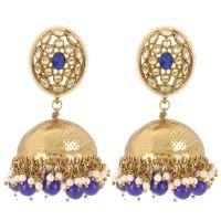 Indian Jewelry Bollywood Antique Crystal Kundan Big Jhumka Earrings Set for Women