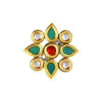 Indian Style Bollywood Antique Gold Plated Kundan Crystal Floral Adjustable Ring Finger Jewelry