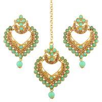 Indian Maang Tikka Earrings Set Bollywood Crystal Rhinestone Head Chain Dangle Jhumka Earrings Jewelry Set