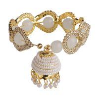 Indian Bollywood Crystal Faux Pearl Beads Charm Jhumki Tassel Elastic Stretch Bracelet Jewelry