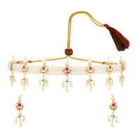Indian Jewelry Cubic Zirconia CZ Crystal Faux Pearl Choker Necklace Earrings Set for Women