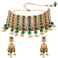 Indian Bollywood Jewelry Faux Pearl Crystal Choker Necklace Earrings Wedding Jewelry Set for Women