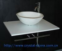 Basin made of crystallized glass panel