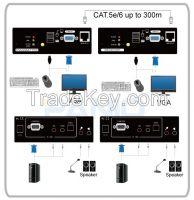 USB CAT5 KVM Extender Switch with Audio, Mic& RS-232