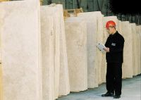 Travertine and marble slabs