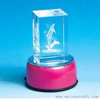 3D laser crystal with LED light base