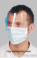 Sell 3 Ply Anti-fog Face Mask With Earloop