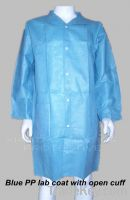 Sell Blue Non-woven Lab Coat With Lapel Collar, Open Cuffs, Buttons
