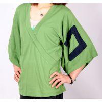 Sell 2013 V Collar Half-sleeves Women Green t-shirts D
