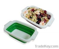 """Sell 9"""" Rectangular TPR plastic Collapsible Bowl-Eco-friendly"""