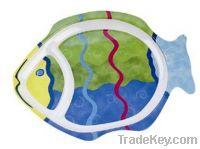 """ell 100% melamine 14-1/2"""" Fish Shaped Divided Plate-Food safe"""