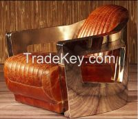 Antique leather stainless steel lounge chair