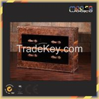 aviator antique leather cabinet storage trunk closet