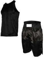 Black Boxing Trunks: Boxing Shorts: Boxing Vest Black.