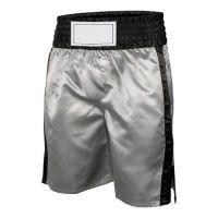 "New Model 2017 Men""s Boxing Trunk, Kick Boxing Shorts: Silver With Black Trims."