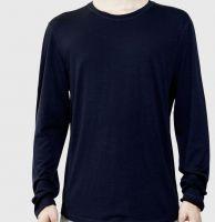 Men's t shirt long sleeve Navy Blue 100% Cotton. Customized T-shirts.