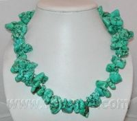wholesale jewelry -irregular shape side-drilled turquoise necklace