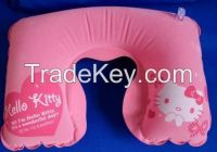 U shape PVC inflatable neck pillow with velour finish