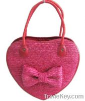 Heart shape lady straw beach bag
