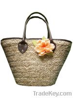 Sell Straw bag with flower accessories leather handle