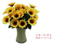 wholesale artificial sunflower bouquet 1 bunch of 7 heads silk sunflowers fake yellow flowers for home decoration wedding decor