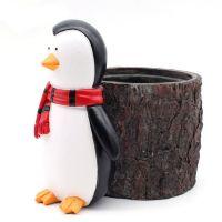 OEM design pen holder snowman pen pencil container carving brush pot brush holder desk organizer decoration , luxury gift