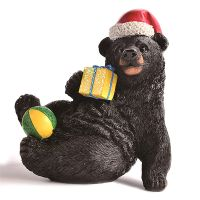 OEM design  artificial resin black bear statue figurine home decoration