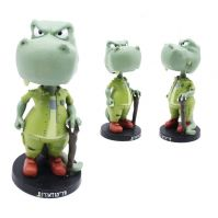 OEM design  artificial resin hippo animal figurine bobble head for home decoration, party gift for children