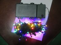 Sell battery LED string light with multi  LED and green cable , waterproof