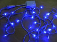 Sell LED string light with blue LED and white cable connectable 230V/110V/24V