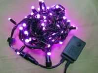 Sell LED string light with pink LED and black cable connectable 230V/110V/24V