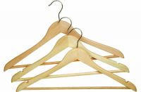 Light  Wooden Suit Hangers with Pants Bar