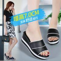2018 Summer Woman Shoes Platform bath slippers Wedge Beach Flip Flops High Heel Slippers For Women Brand Black EVA Ladies Shoes