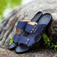 Casual men sandals summer tide mens slippers rivet british man beach sandals genuine cow leather lazy pedal flip flop
