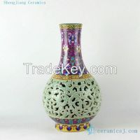 Sell 17inch High quality reproduction hand painted hand carved Qing dynasty reproduction Porcelain Vase
