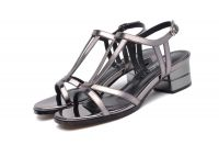 6269 Hollow out ball peep toe chunky high heel t-style sandals