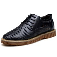 22208 Low cut lace up breathable leather sneakers fashionable flat men casual shoes