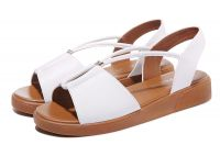 8607 Wholesale flat ankle strap buckle summer sandals slide lady flat women beach shoes