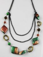 two-tone acryl beaded necklace
